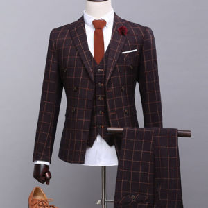 Three-Piece Suit (Jacket Pants Vest) Blazer Dress Men′s Business Suit pictures & photos