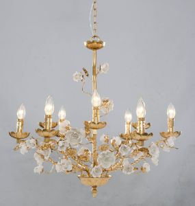 Luxury Golden Foild Finishing White Ceramic Chandelier for Project pictures & photos
