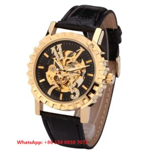 Cutting-Edge Automatic Men′s Watch with Genuine Leather Strap Fs643 pictures & photos