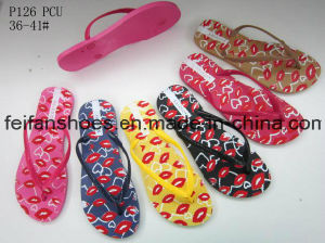 Women Flip Flops Customized PVC Slippers China Sandals Supplier (FFLT1017-02) pictures & photos