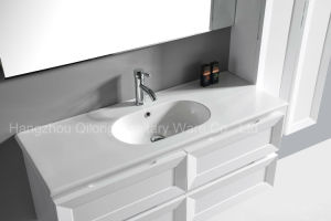 PVC Painting Bathroom Cabinet with Ceramic Basin and Side Cabinet pictures & photos