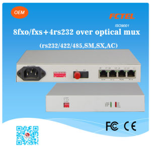 Mini 8 Channel FXO FXS Pots with 4 RS232 RS422 RS485 Multiplexer