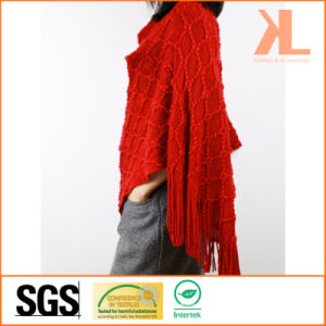 Acrylic Fashion Lady Winter Warm Red Diamond Fringed Knitted Cloak pictures & photos