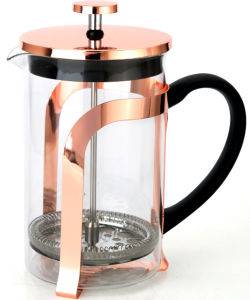 Good Quality Pyrex Travel Copper French Press Coffee Maker with Metal Rack
