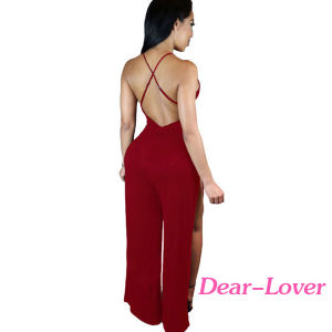 Burgundy Twist Abdomen Backless Thigh High Slit Party Jumpsuit pictures & photos