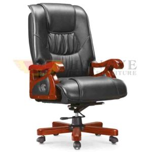 Luxury Swivel Wooden Ergonomic Genuine Leather Executive Boss Chair pictures & photos