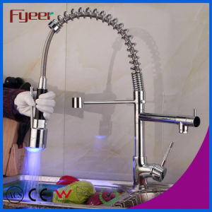 Small Size Pull-out Spray 3 Color LED Kitchen Faucet (QH0783SF) pictures & photos