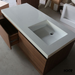 Modern Marble Stone Solid Surface Bathroom Basin Cabinet Vanity pictures & photos