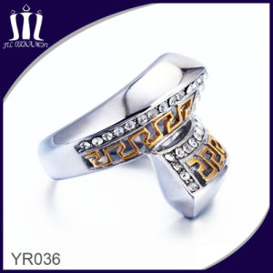 Yr036 IP Gold Titanium Thumb Ring with Diamond pictures & photos