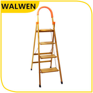 Hot Sale Fodable Wide Step Ladder with Safety Handrail &Sponge pictures & photos