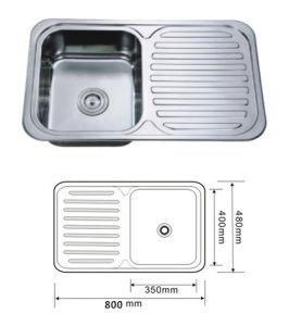 Sink, Kitchen Sink, Handmade Sink, Topmount Single Sink with Drain Board pictures & photos