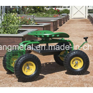 Rolling Garden Cart with 360 Degree Swivel Seat and Tray pictures & photos