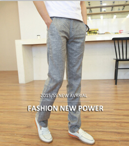 Linen Grey Men′s Trousers Long Pants with High Quality Tmp004 Thin Leisure pictures & photos