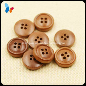 15mm High Quality Four Holes Brown Wood Shirt Button pictures & photos
