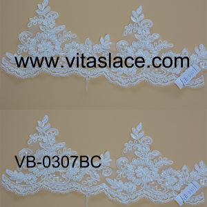 White Rayon Wedding Lace Trim with Cording&Beading Vb-0307bc
