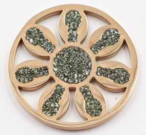 Fashion Rose Gold Flower Coin Plate with Green Crystal pictures & photos