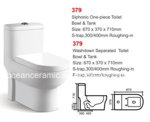 Ceramic Siphonic One-Piece Toilet (No. 379) P Trap, S Trap pictures & photos