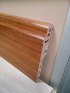 Interior Decoration Materials of Flooring Accessories at Wood Coated Plastic PVC Skirting Board pictures & photos