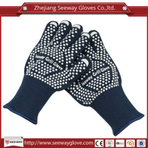 Seeway Baking Tool Aramid Knitting Heat Resistant Grill Gloves Double Oven Mitts with Silicone Outer Cotton Liner