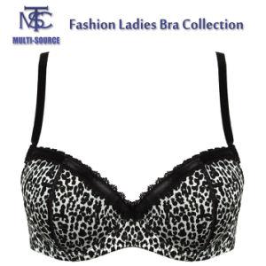 Print Black Lace Adjustible Shoulder Strap Latest Fashion Sexy Bra