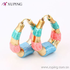 Popular Fashion Simple 18k Gold-Plated Colorful Imitation Jewelry Hoop Earring - 91324 pictures & photos