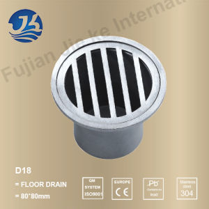 Round Decorative Concrete Stainless Steel Bathroom Floor Drain (D18)