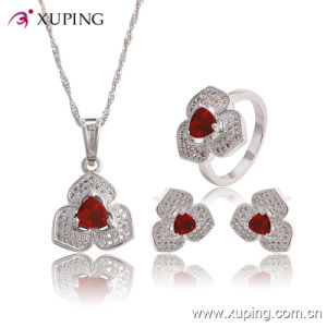 Fashion Elegant CZ Diamond Heart-Shaped Rhodium Jewelry Set for Wedding or Party 63767 pictures & photos
