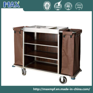 Coffee Powder Coated 3 Tier Housekeeping Clean Linen Trolley pictures & photos