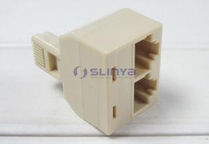 RJ45 Splitter Male to 2 Female Connector 8p8c Modular Duplex T Adapter Splitter pictures & photos