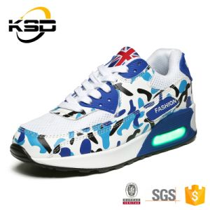 Camouflage Cotton Fabric Material Adults Sports LED Shoes with Changeable Colors Outdoor Boots