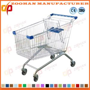 Wire Metal Grocery Supermarket Shopping Cart Trolley European Style (Zht160) pictures & photos