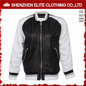 White Black Motorcycle PU Leather Jacket Manufacturers pictures & photos
