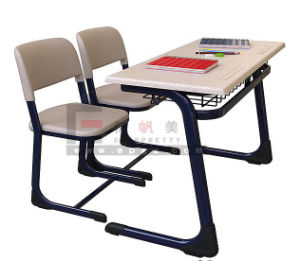 Popular India Wooden School Furniture Double School Student Desk and Chair pictures & photos