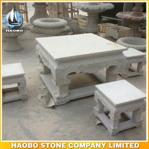 Outdoor Stone Square Shape Table and Chairs Garden Decoration pictures & photos