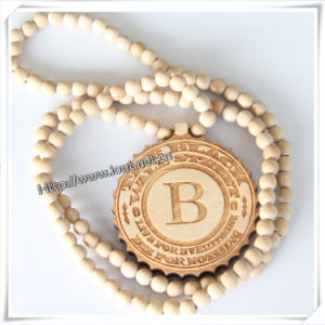 Natural Wooden Pendant with a 36 Inch Beaded Necklace Chain (IO-wn015) pictures & photos