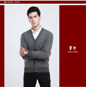 Yak Wool/Cashmere V Neck Cardigan Long Sleeve Sweater/Clothing/Garment/Knitwear pictures & photos