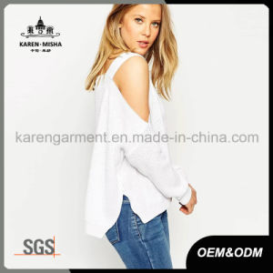 Lady 3 Colors Cut off Shoulder Side Vent Sexy Sweater pictures & photos
