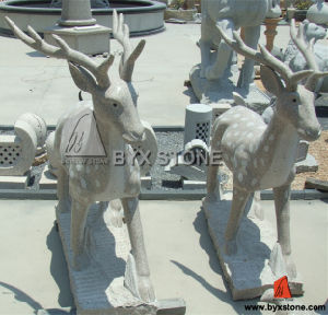 Pink Granite Stone Sika Deer Animal Carved Statue / Sculpture pictures & photos