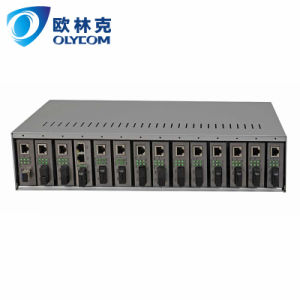 14 slot fiber media converter chassis with dual power supply