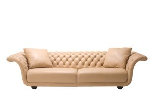 Top Selling Leather Sofa Low Back Chestifiled pictures & photos