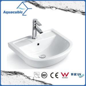 Semi-Recessed Bathroom Ceramic Cabinet Basin Hand Washing Sink (ACB8545) pictures & photos