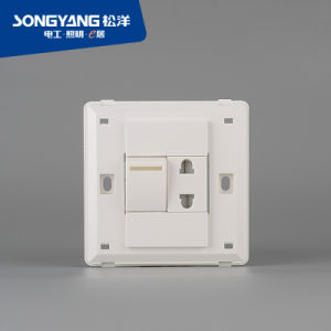 Flame Retardant PC Plastic Series 1gang+1socket Wall Socket pictures & photos