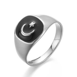 VAGULA Moon and Star Black Painting Silver Finger Ring pictures & photos