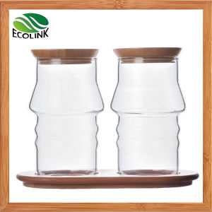 Glass Sugar Jar Spice Jar with Bamboo Stand pictures & photos