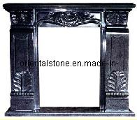 Black Granite European Sculpture Fireplace for Indoor
