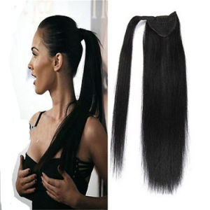 20 Inch Black 100% Natural Clip in Drawstring Ponytail Hair Extensions Wraparound Ponyail Hair Exension