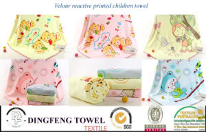 100% Cotton Velour Printed Children Towel Df-3593 pictures & photos