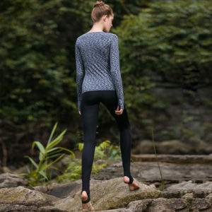 Long Sleeve Yoga Shirt Women Yoga Pants Stripe Yoga Wear pictures & photos