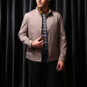 Design Men Plain Polyester Classical Full Zip Khaki Color Coat pictures & photos