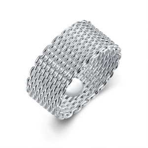 Whloesale Netted Round Ring Silver Plated Knitted Ring in Europe pictures & photos